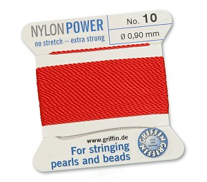 GRIFFIN NYLON BEAD CORD - RED, #10