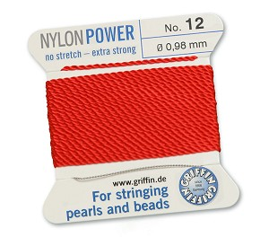 GRIFFIN NYLON BEAD CORD - RED, #12