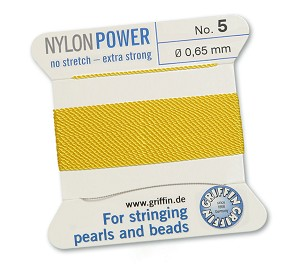 GRIFFIN NYLON BEAD CORD - YELLOW, #5